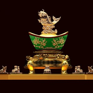chinese gold ingot fish 3D