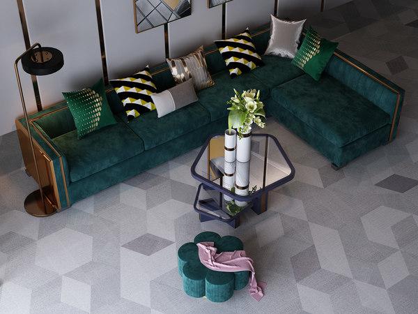 3D living room set model