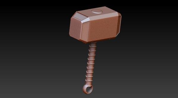3D thors hammer model