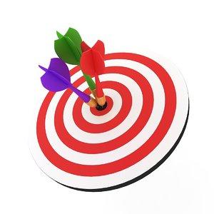 3D model dartboard dart board
