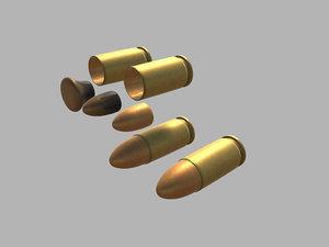 3D 9mm bullet
