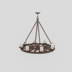 3D old wheel chandelier model
