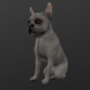 rigged dog sitting idle 3D model