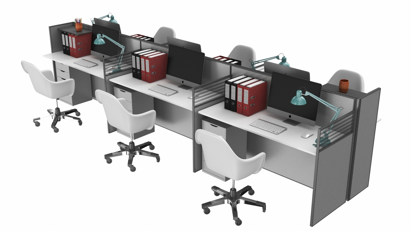 real office workstation 3D model