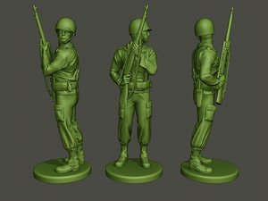 3D american soldier ww2 stand model