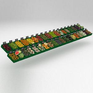 crates fruits vegetables model