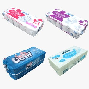 3D cleaned tissue packaging model