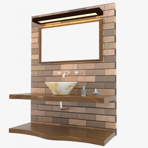 modern designed bathroom sink 3D model