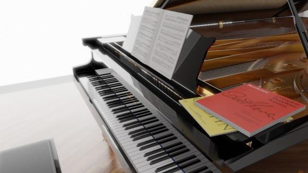 c bechstein grand piano 3D model