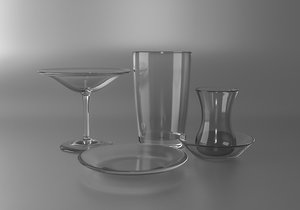 glass cup glassware 3D model
