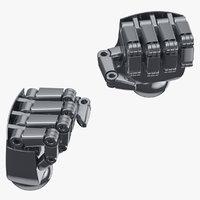 3D robot hands 01 fist model