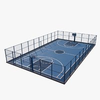 3D basketball court outdoor