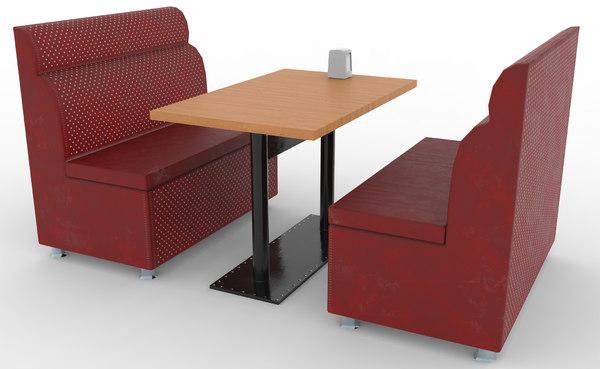 3D cafe booth set model