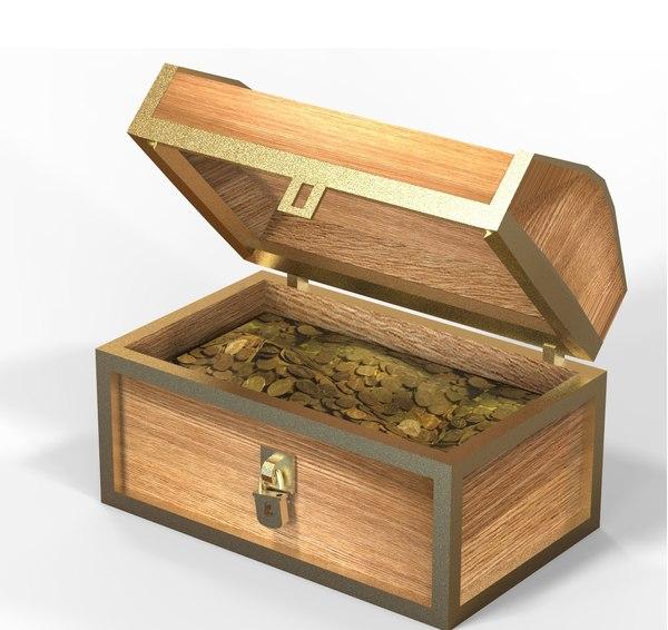 3D gold chest
