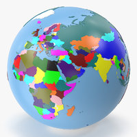 3D globe earth geopolitical model