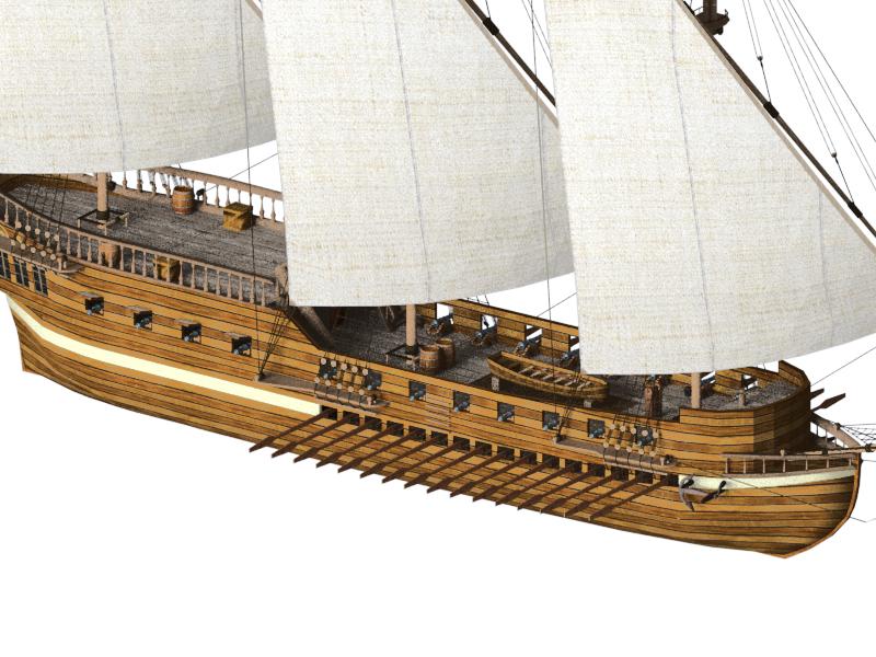 3D galley ship model
