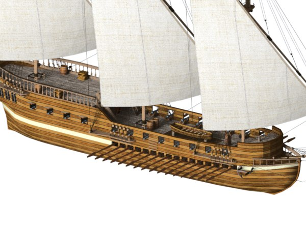 3D galley ship model