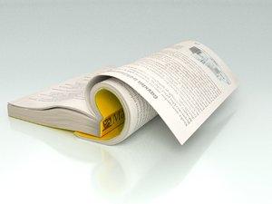 3D model open book soft