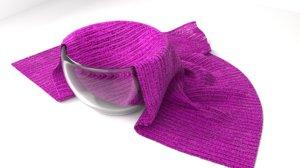3D model glass bowl cloth napkin