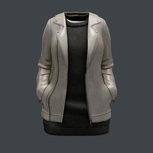 female jacket leather 3D model