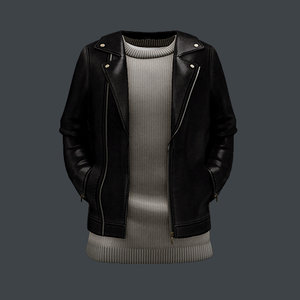 3D male jacket leather