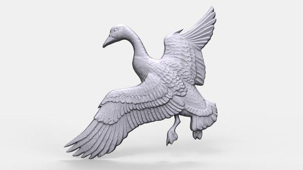 3D model canadian goose bas relief