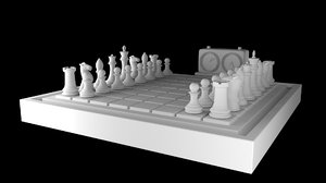chess board pieces timer 3D model