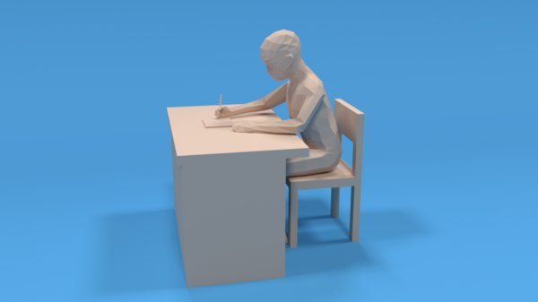3D kid sitting writing model