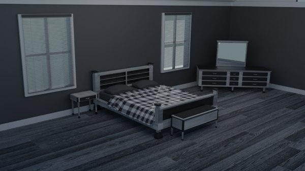 3D bedroom set bed grey model