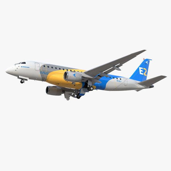 3D embraer e-jet e175-e2 jet