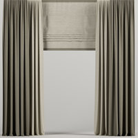 3D curtains brown roman
