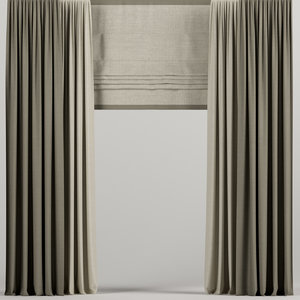 3D curtains brown roman