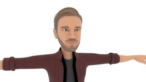 cartoon pewdiepie 3D model