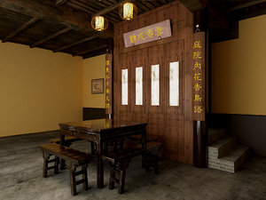 3D chinese-style living room furniture