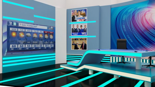 3D set news studio model