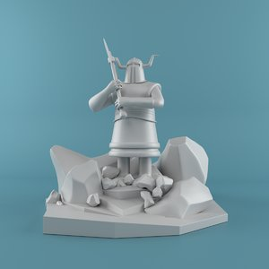warrior cartoon 3D model