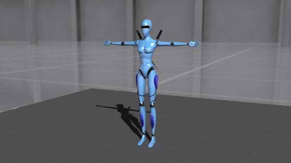 female robo charecter 3D