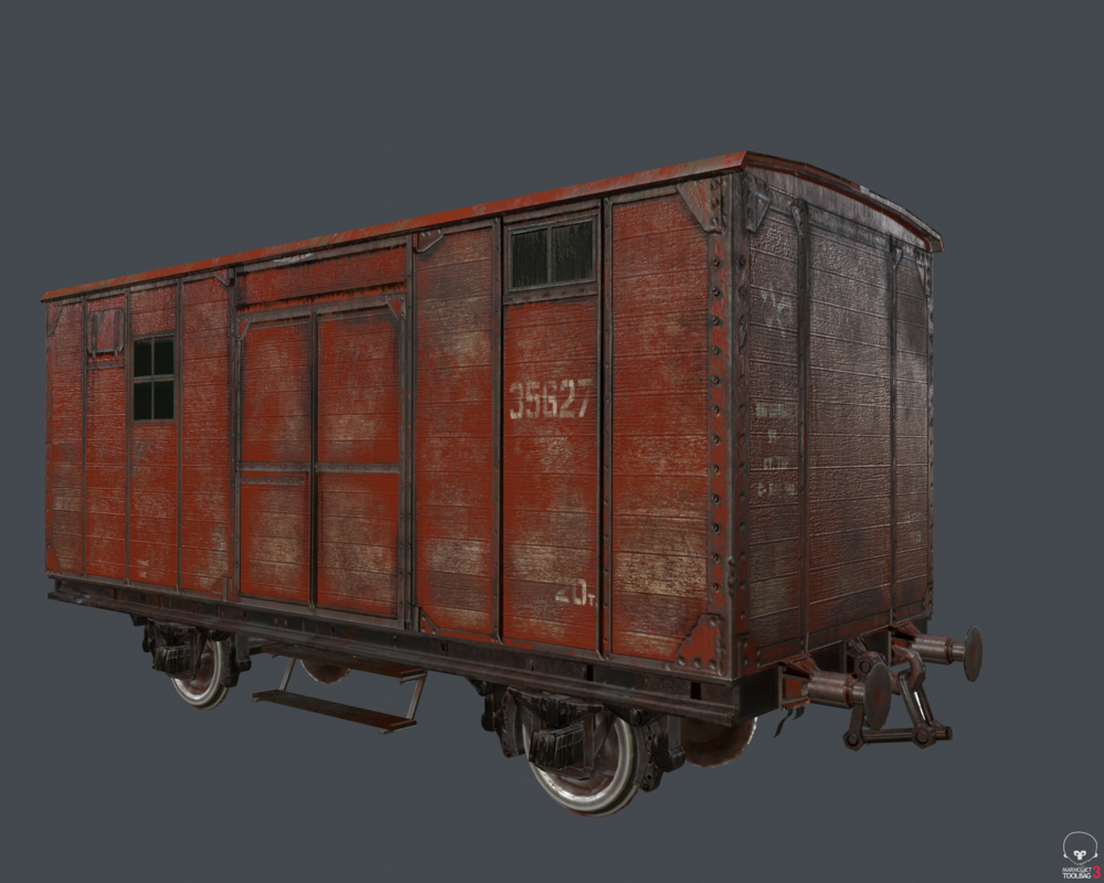 3D train raildroad car