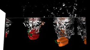 bell pepper splashing water 3D