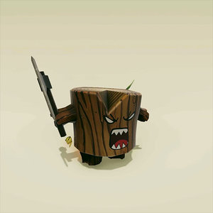 3D angry log ready model