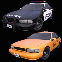 pack generic american taxi 3D model