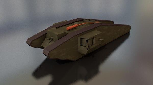 3D tadpole military tank model