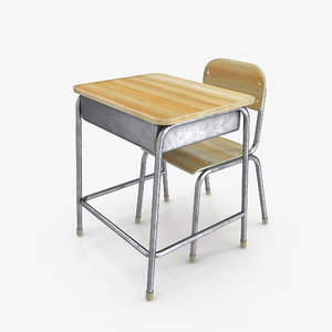 classroom school desk 3D model