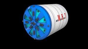 3D model boring machine tunnels