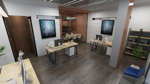 3D model office interior scene