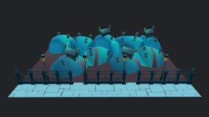cartoon halloween graveyard 3D model