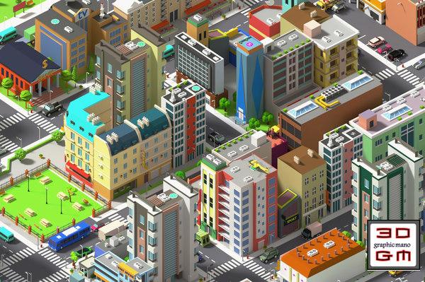 simplepoly city - assets 3D model