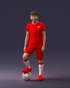 3D football ball player