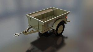 military cargo trailer cart model