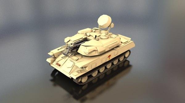 3D model shilka zsu 23-4 soviet